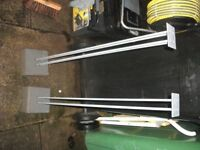 """speaker stands with concrete bases,very good condition,30"""" tall 5"""" at base"""