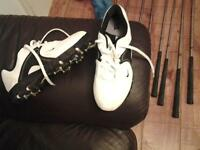 as new nike ladys golf shoes white with black tick size 5 and a half