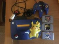Nintendo 64 Pokemon Pikachu Edition Console & Controller bundle with three games
