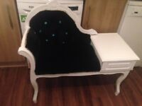 Vintage telephone table black velvet and blue gems