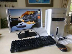 "Dell Inspiron 530 Desktop Computer (2008). 19"" Monitor, Keyboard etc. 500GB Hard Disk. 4GB Memory."