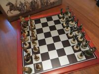 "Samurai resin chess set 3"" King complete with board 14"" x 14"""
