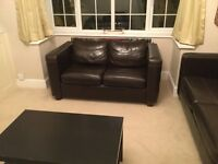 3 piece sofa set - Brown Harvey's leather look £300