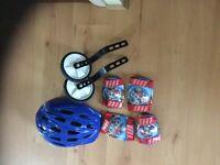 Helmet , stabilisers , knee pads