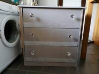 Silver Grey Chest of Drawers With Bling
