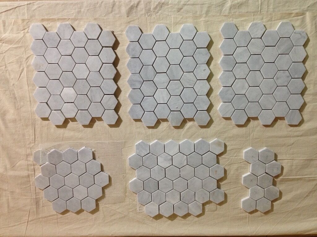 Fired earth bridgehampton marble hexagon mosaic hone Fired tiles