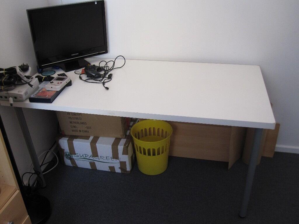 Ikea Linnmon White Large Office Desk Table Legs 150 Cm X 75