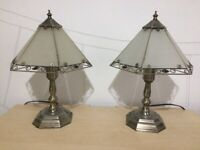 Pair of brass style lamps