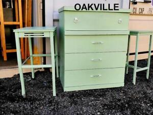 DRESSER  & TWO HIGH TABLES Oakville Vintage SHABBY CHIC Light Cottage Green Mint Retro Antique Midcentury Country Rustic