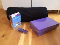 Yoga bolster, blocks, strap and DVD set
