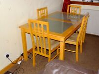 Matching Beech colour Dining table +4 chairs , Coffee table & Lamp table