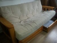 Real wood double futon sofa bed