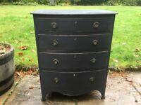 Vintage bow fronted small chest of drawers in graphite