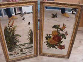 Victorian handpainted mirrors