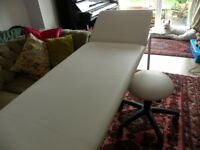 WHITE MASSAGE TABLE AND MATCHING STOOL