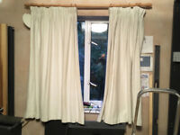 White Curtains and wooden rails - x2 pairs of curtains