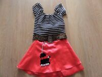Girls Fancy Dress Red satin poodle skirt, fitted black white stripe top,buckle belt, age 5- 6 years