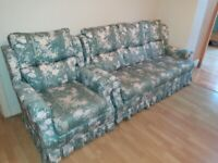 Vintage 3 seater Fabric floral Sofa with matching Armchair