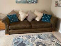 Large 3 & 4 seater brown sofas and footstool