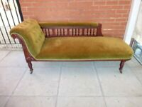 A Green Fabric Chesterfield Style Chaise Lounge