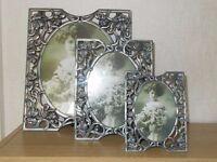 Set of 3 decorative pewter photo frames
