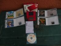 NINTENDO DS LITE MARIO BRO SPECIAL EDITION LIMITED EDITION RED CONSOLE& FIVE GAMES