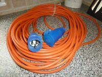 Electric hook up cable. 3 pin. Long. Caravan or camping.