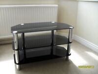 Black Glass TV table with 2 lower shelves