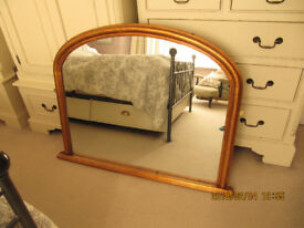 Overmantle Mirror - Bow Top - Gold -