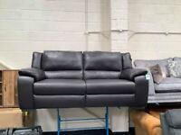 Ex-display Finchley brown leather standard 3 seater sofa