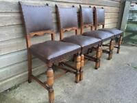 Set of Four Vintage Medieval Banquet Dining Chairs