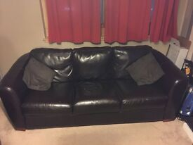 Dark brown faux leather 3 seater and 2 seater couch