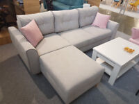 OSLO Corner Sofa Bed >> Swarovski >> Container for bedding >> Sleeping function >> Grey >> Delivery