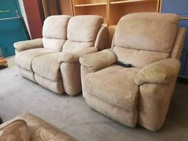 Light beige electric recliner two seater and chair