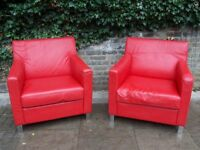 PAIR OF STYLISH VINTAGE RETRO 1960-70 RED LEATHER CHROME LEGS CLUB LOUNGE ARMCHAIRS GOOD CONDITION