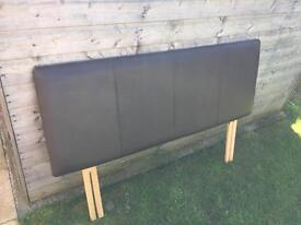 Brown faux leather headboard for double bed