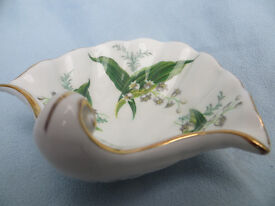 Vintage Hammersley Bone China Sea Shell Shaped Trinket Dish Pin Dish Lily of the Valley Lilly