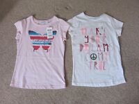 Two brand new Okaidi T Shirts for girls age 9-10 (138cms)