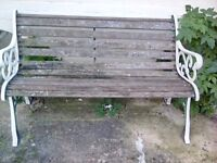 Bench Garden Seat with Wrought Iron Sides