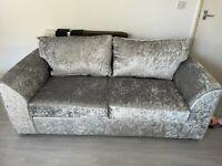 Brand new 3+2 seater silver crushed velvet sofas £399