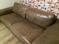 Large real leather sofa, high quality, vgc