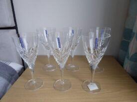 BOXED SET OF 6 EDINBURGH CRYSTAL SUTHERLAND WINE GOBLETS / GLASSES