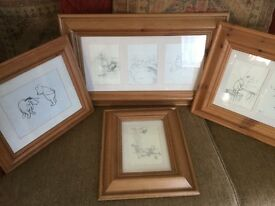 Framed winni the pooh sketches