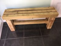Brand new handmade solid treated wood garden bench