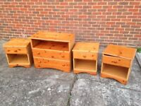1 x Chest Of Drawers & 3 x Bedside Cabinets