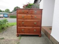 Chest of drawers, Mahogany stained pine with metal handles