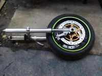 Suzuki GSXR 750 SRAD Full Front End FORKS DISCS YOKE WHEEL TYRE £300 Tel 07870 516938 Anglesey