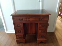 Yew Ladies pedestal kneehole leather inlaid desk.