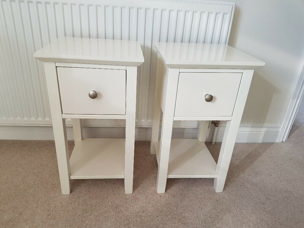Set Of 2 Marks Spencer Hastings Ivory Compact Bedside Tables
