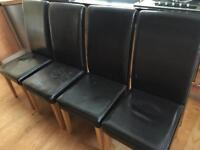 Leather High Back Dining Chairs x4 Brown